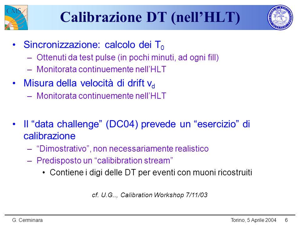 G. CerminaraTorino, 5 Aprile 20046 Calibrazione DT (nellHLT) Sincronizzazione: calcolo dei T 0 –Ottenuti da test pulse (in pochi minuti, ad ogni fill)