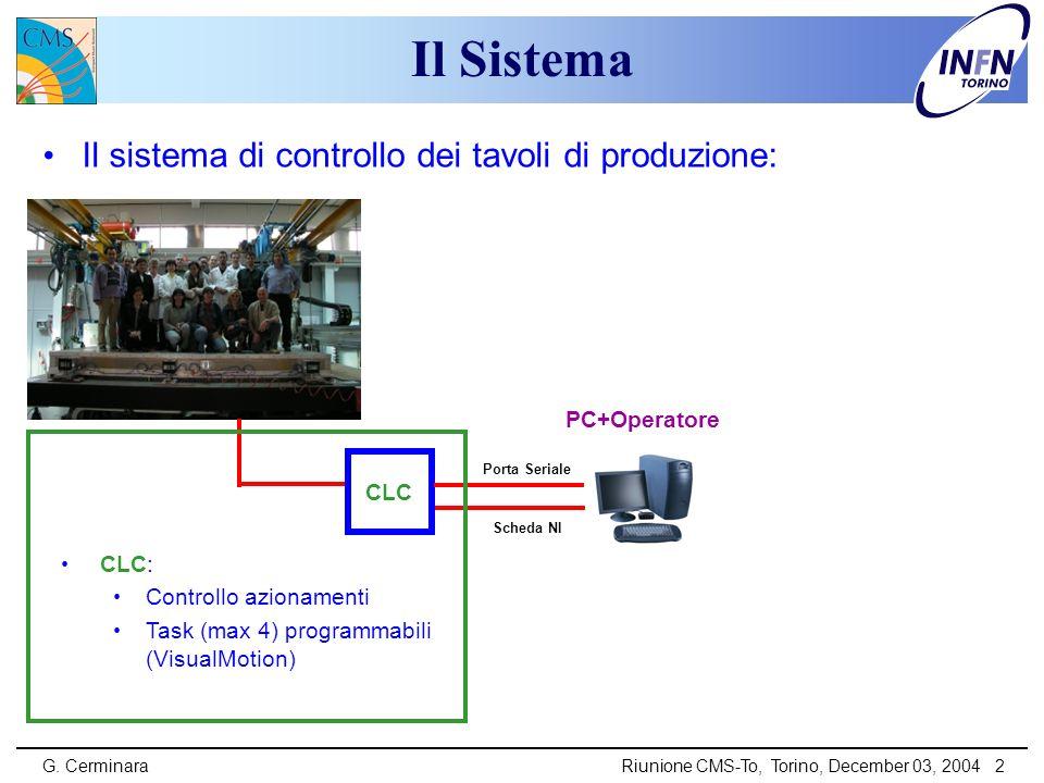 G. CerminaraRiunione CMS-To, Torino, December 03, 2004 2 Il Sistema Il sistema di controllo dei tavoli di produzione: CLC CLC: Controllo azionamenti T
