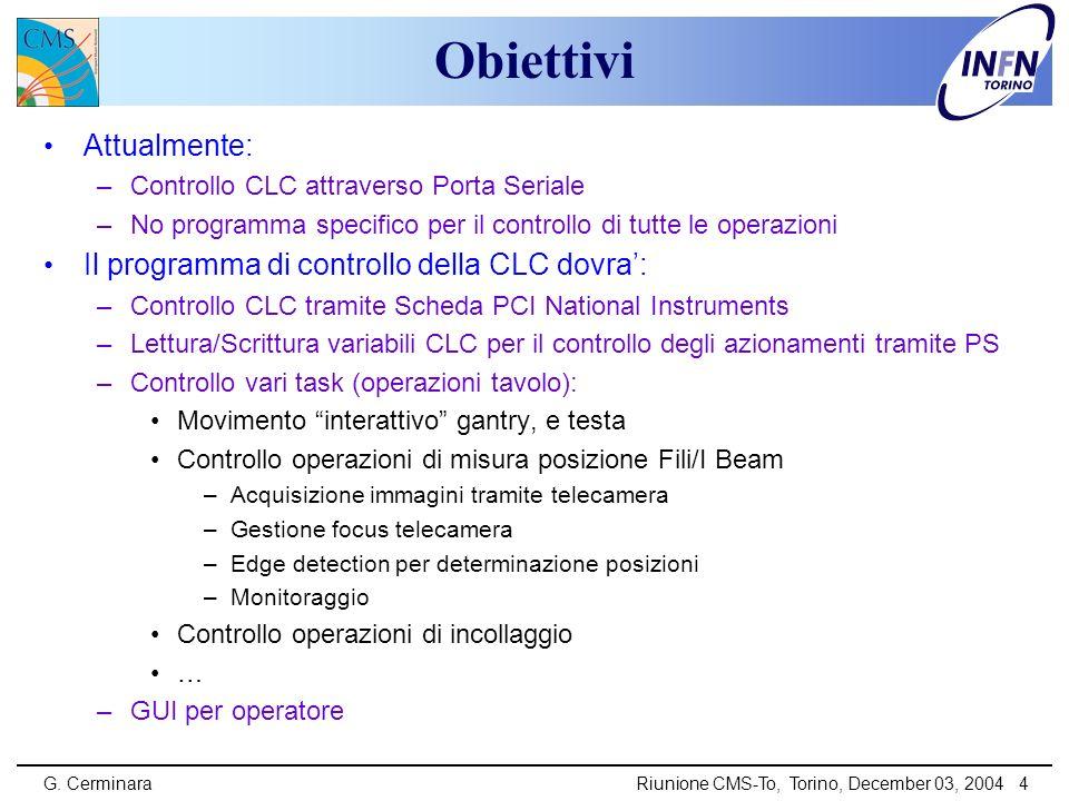 G. CerminaraRiunione CMS-To, Torino, December 03, 2004 4 Obiettivi Attualmente: –Controllo CLC attraverso Porta Seriale –No programma specifico per il
