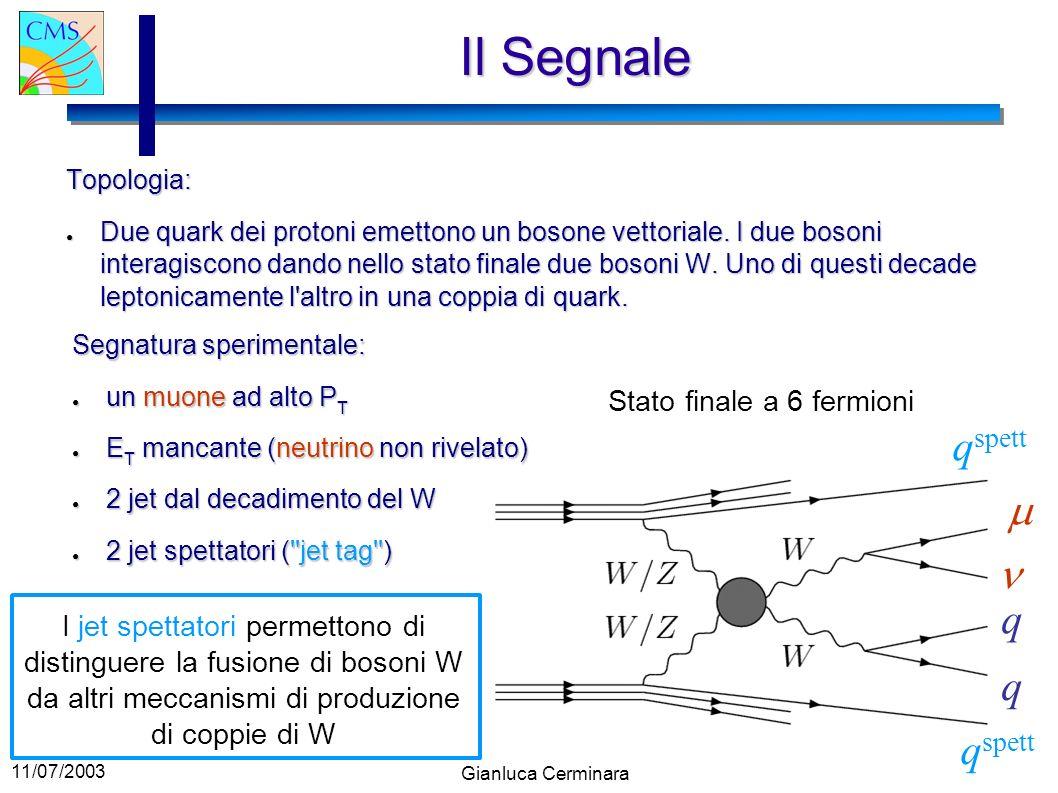 11/07/2003 Gianluca Cerminara Il Segnale Topologia: Due quark dei protoni emettono un bosone vettoriale. I due bosoni interagiscono dando nello stato