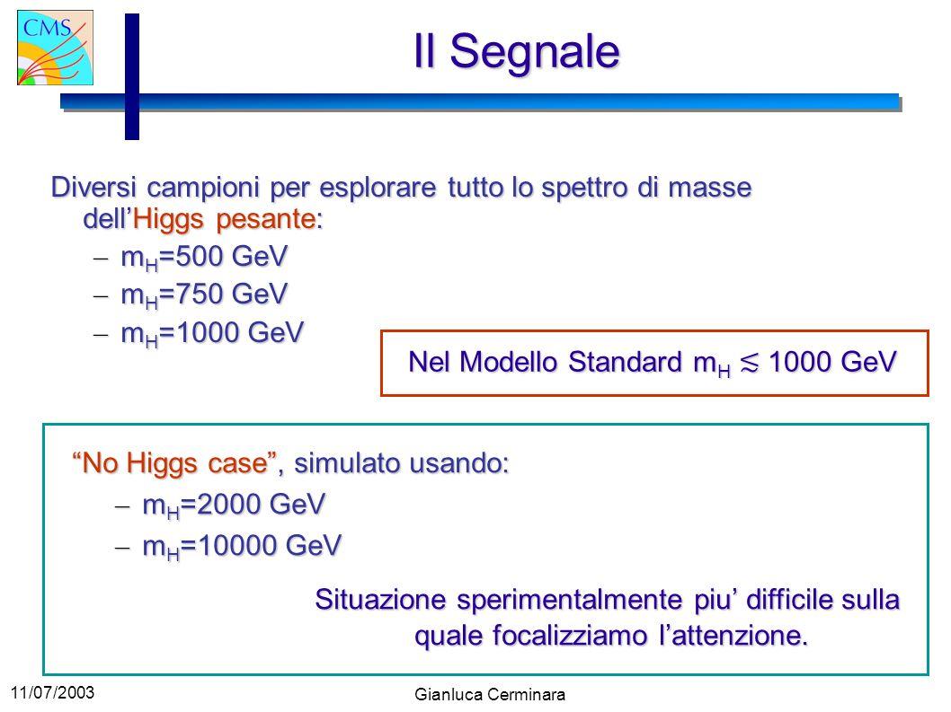 11/07/2003 Gianluca Cerminara Il Segnale Diversi campioni per esplorare tutto lo spettro di masse dellHiggs pesante: – m H =500 GeV – m H =750 GeV – m