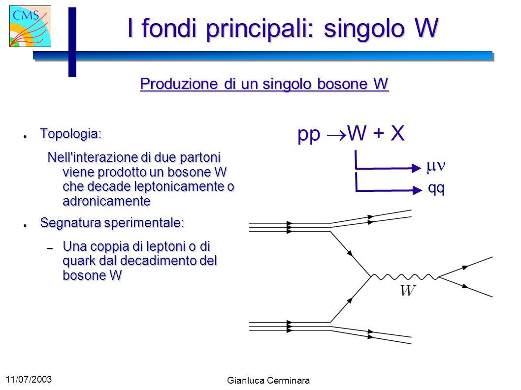 11/07/2003 Gianluca Cerminara I fondi principali: singolo W Topologia: Topologia: Nell'interazione di due partoni viene prodotto un bosone W che decad