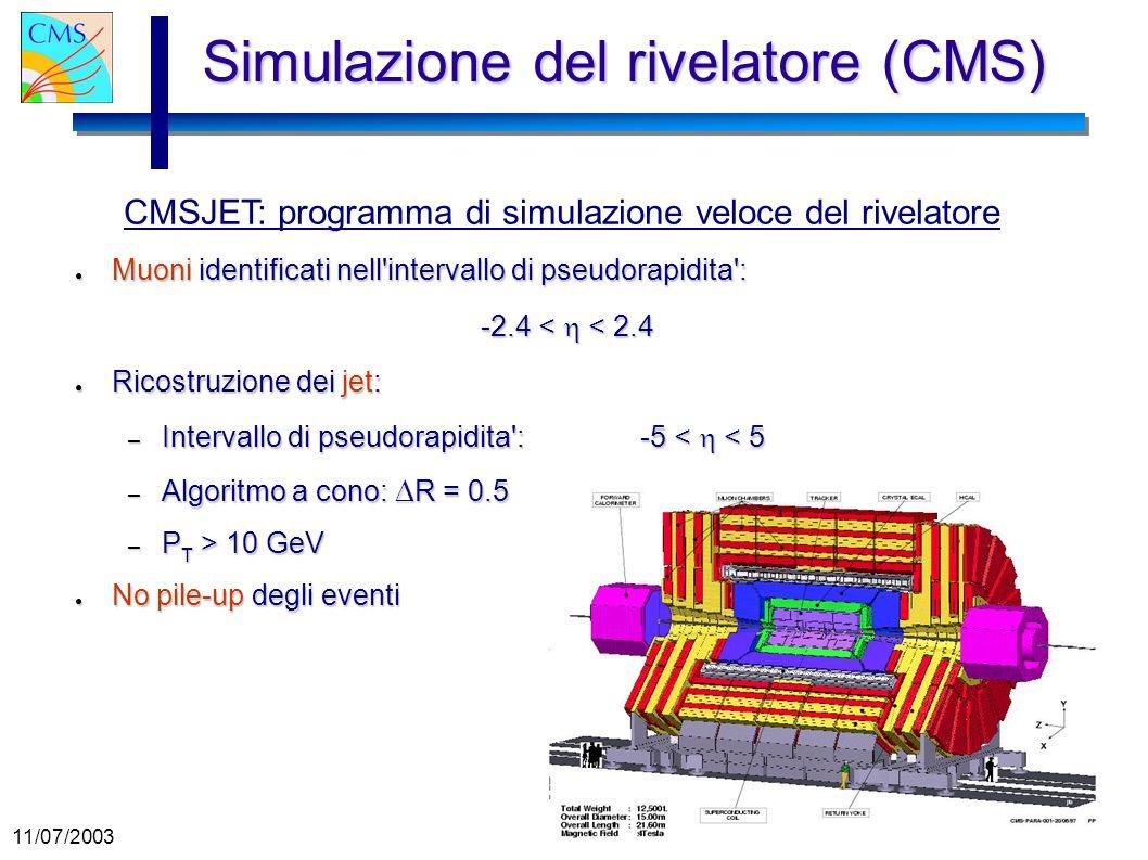11/07/2003 Gianluca Cerminara Simulazione del rivelatore (CMS) Muoni identificati nell'intervallo di pseudorapidita': Muoni identificati nell'interval