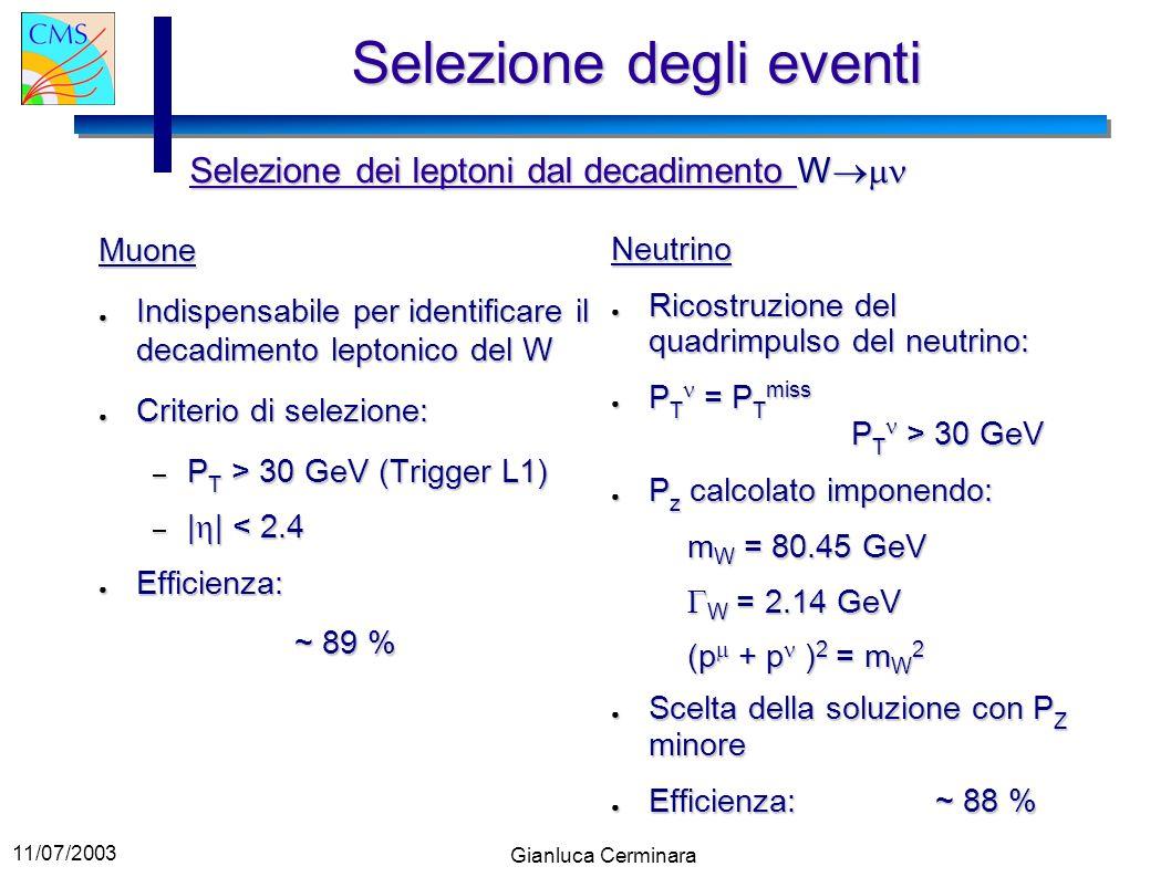 11/07/2003 Gianluca Cerminara Selezione degli eventi Muone Indispensabile per identificare il decadimento leptonico del W Indispensabile per identific