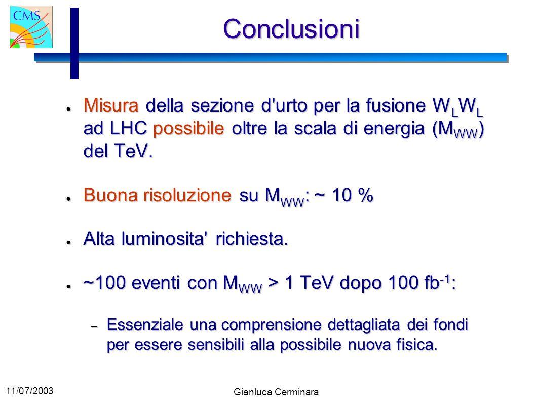 11/07/2003 Gianluca Cerminara Conclusioni Misura della sezione d'urto per la fusione W L W L ad LHC possibile oltre la scala di energia (M WW ) del Te