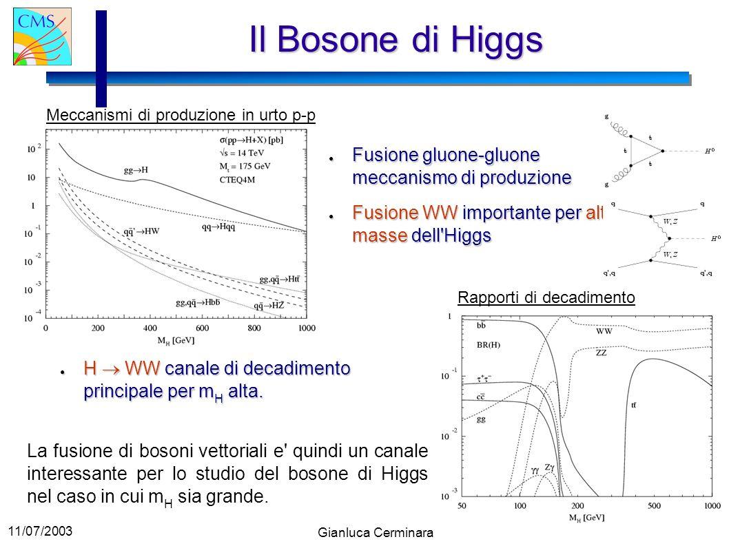 11/07/2003 Gianluca Cerminara Il Bosone di Higgs H WW canale di decadimento principale per m H alta. H WW canale di decadimento principale per m H alt
