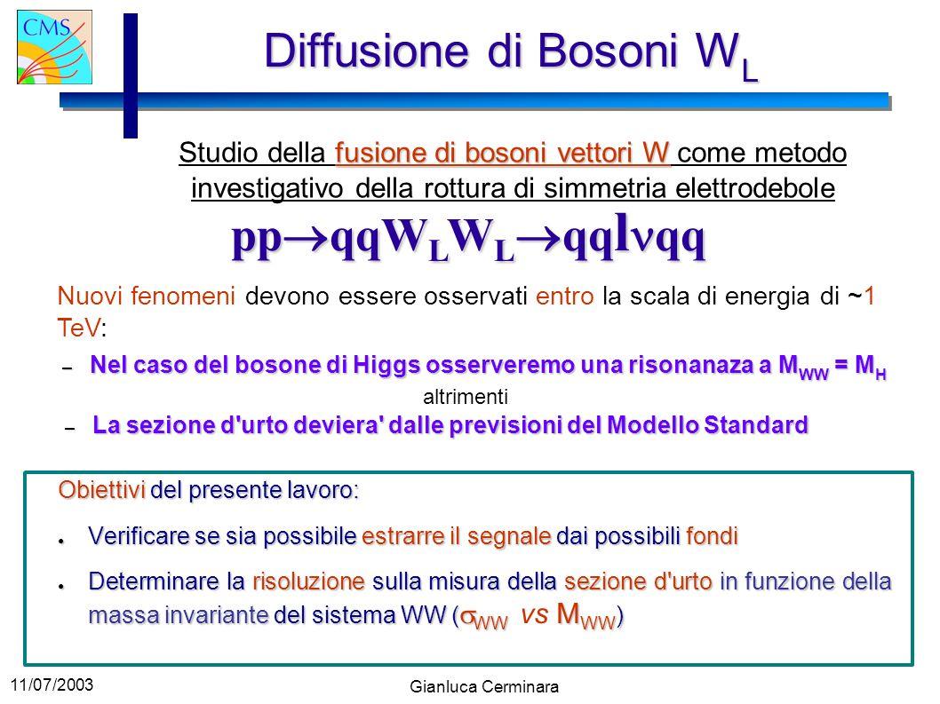 11/07/2003 Gianluca Cerminara Diffusione di Bosoni W L fusione di bosoni vettori W Studio della fusione di bosoni vettori W come metodo investigativo