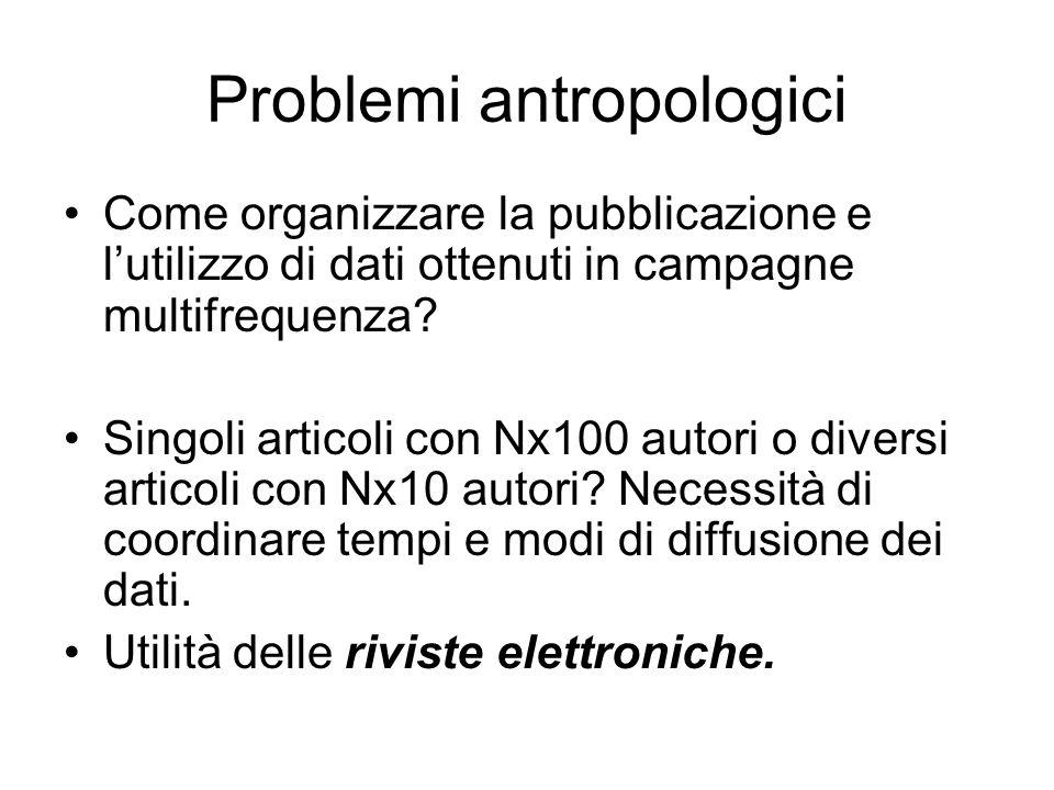 Problemi antropologici Come organizzare la pubblicazione e lutilizzo di dati ottenuti in campagne multifrequenza? Singoli articoli con Nx100 autori o