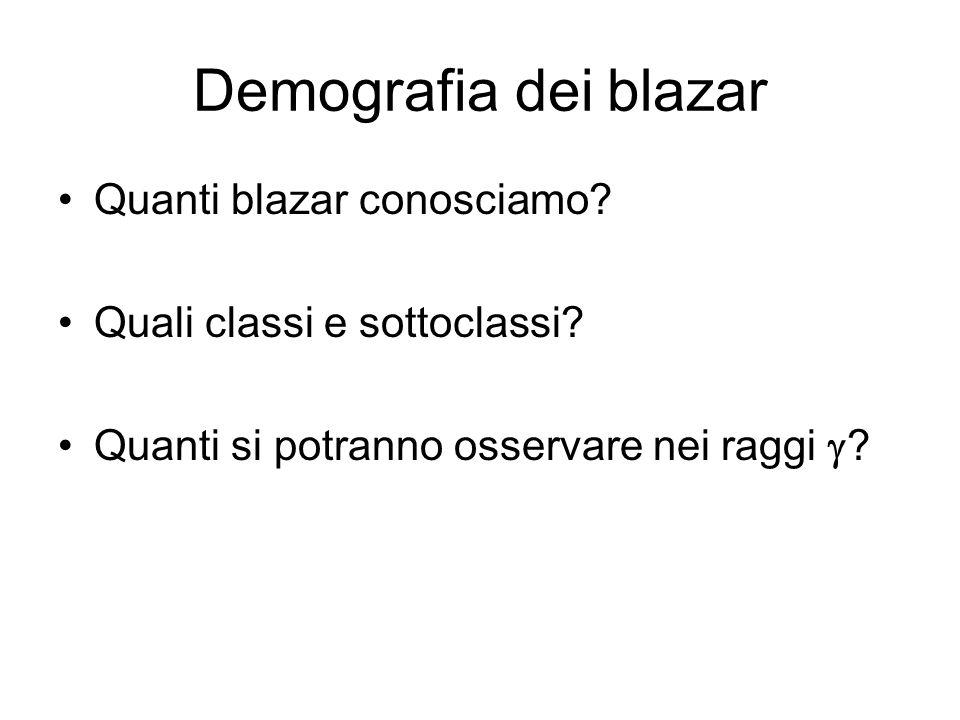 Demografia dei blazar Quanti blazar conosciamo? Quali classi e sottoclassi? Quanti si potranno osservare nei raggi ?