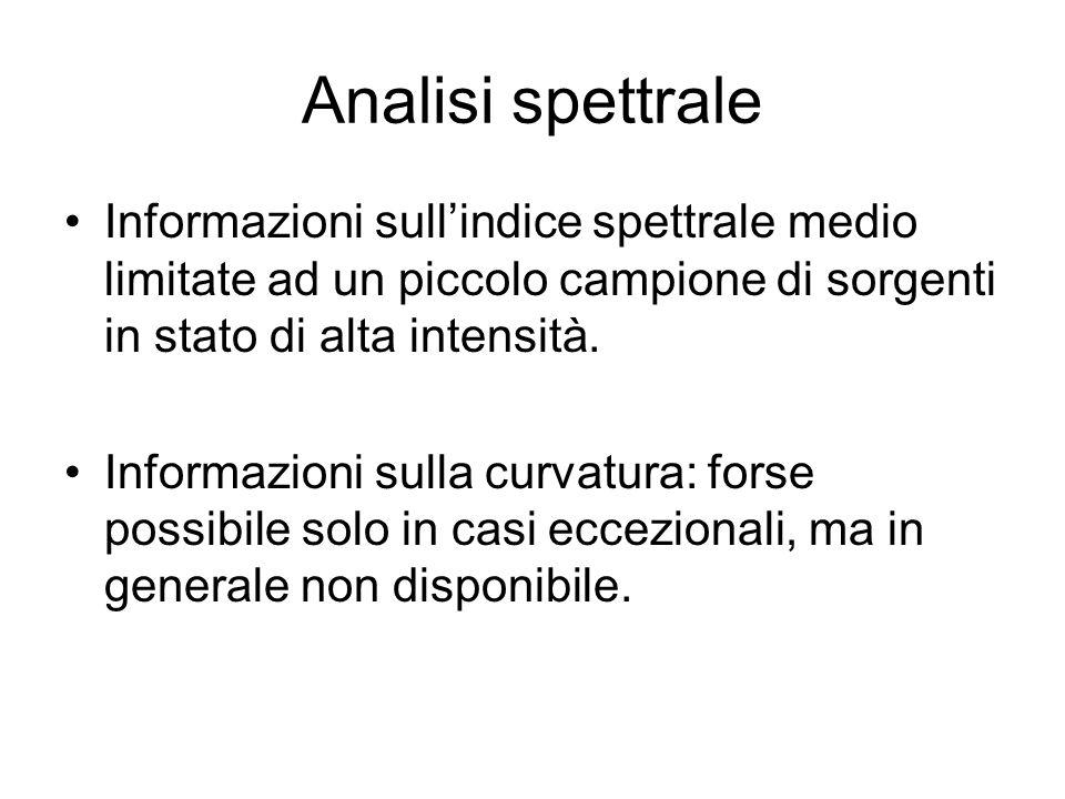 Analisi spettrale Informazioni sullindice spettrale medio limitate ad un piccolo campione di sorgenti in stato di alta intensità. Informazioni sulla c