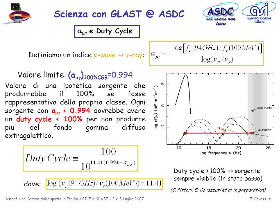 E. Cavazzuti Astrofisica Gamma dallo spazio in Italia: AGILE e GLAST - 2 e 3 Luglio 2007 e Duty Cycle Valore limite: (a ) 100%CGB =0.994 Valore di una