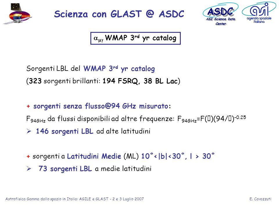 E. Cavazzuti Astrofisica Gamma dallo spazio in Italia: AGILE e GLAST - 2 e 3 Luglio 2007 Sorgenti LBL del WMAP 3 rd yr catalog (323 sorgenti brillanti