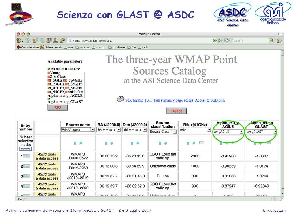 E. Cavazzuti Astrofisica Gamma dallo spazio in Italia: AGILE e GLAST - 2 e 3 Luglio 2007 Scienza con GLAST @ ASDC