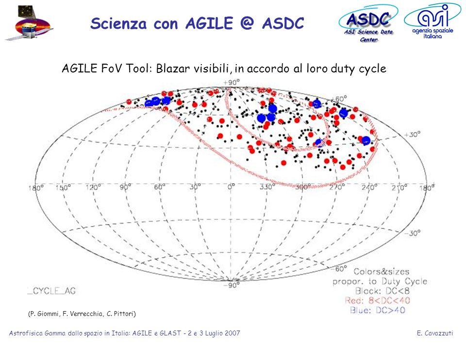 E. Cavazzuti Astrofisica Gamma dallo spazio in Italia: AGILE e GLAST - 2 e 3 Luglio 2007 Scienza con AGILE @ ASDC (P. Giommi, F. Verrecchia, C. Pittor