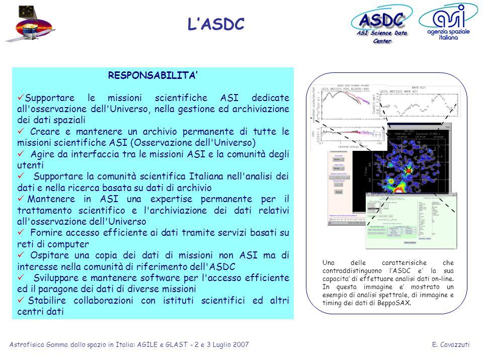 E. Cavazzuti Astrofisica Gamma dallo spazio in Italia: AGILE e GLAST - 2 e 3 Luglio 2007 RESPONSABILITA Supportare le missioni scientifiche ASI dedica