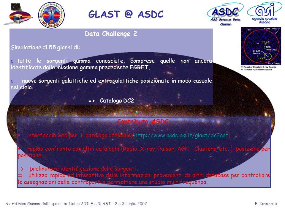 E. Cavazzuti Astrofisica Gamma dallo spazio in Italia: AGILE e GLAST - 2 e 3 Luglio 2007 Data Challenge 2 Simulazione di 55 giorni di: o tutte le sorg