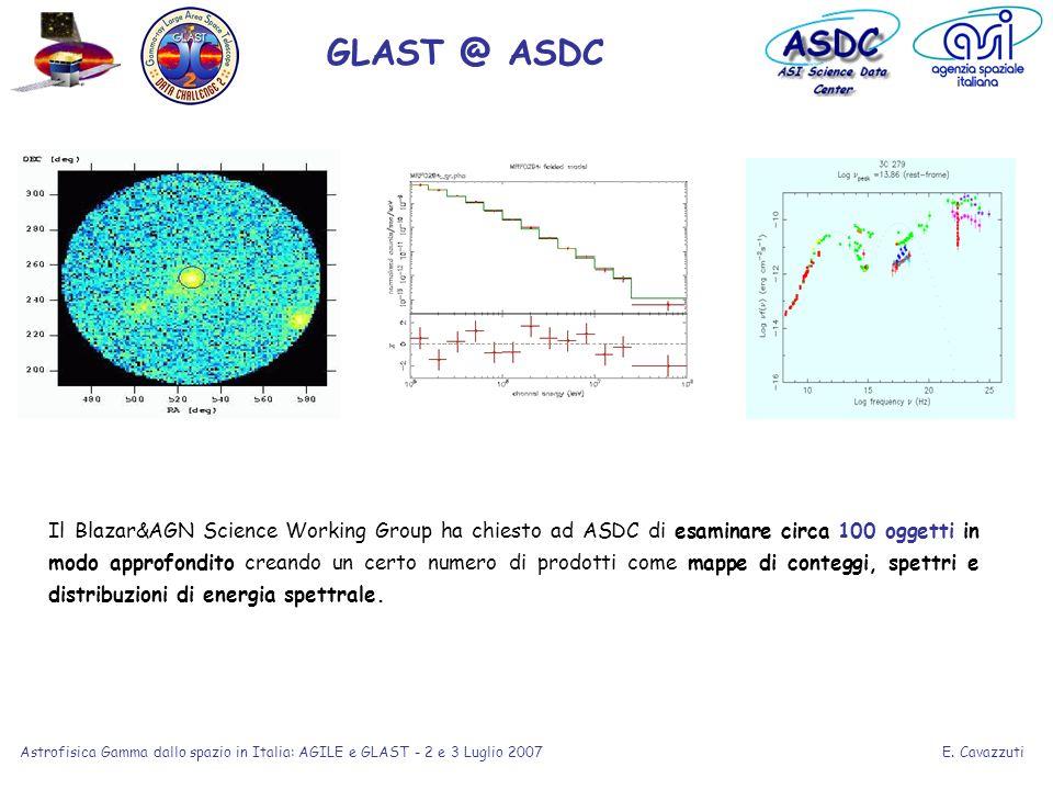 E. Cavazzuti Astrofisica Gamma dallo spazio in Italia: AGILE e GLAST - 2 e 3 Luglio 2007 Il Blazar&AGN Science Working Group ha chiesto ad ASDC di esa