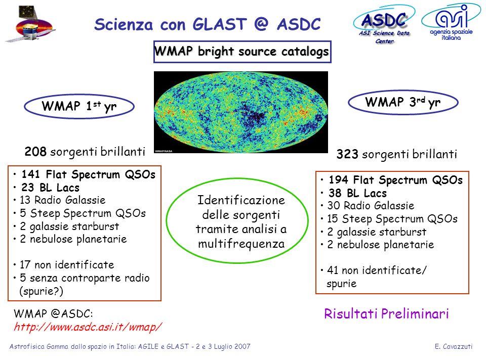 E. Cavazzuti Astrofisica Gamma dallo spazio in Italia: AGILE e GLAST - 2 e 3 Luglio 2007 141 Flat Spectrum QSOs 23 BL Lacs 13 Radio Galassie 5 Steep S