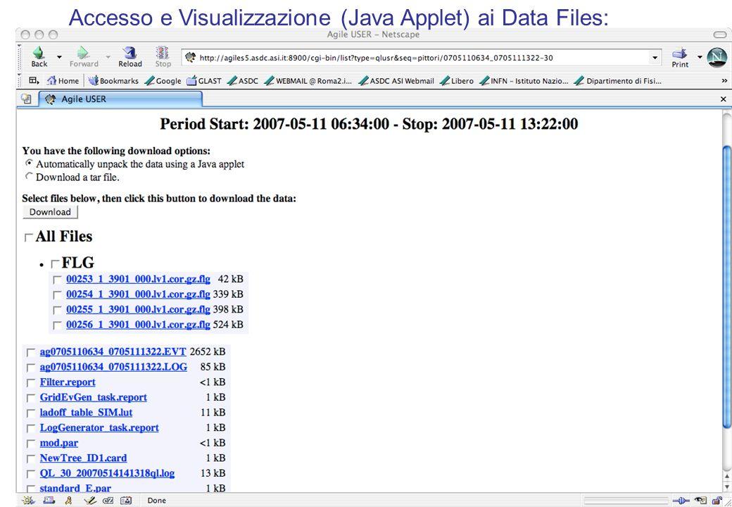 Accesso e Visualizzazione (Java Applet) ai Data Files: