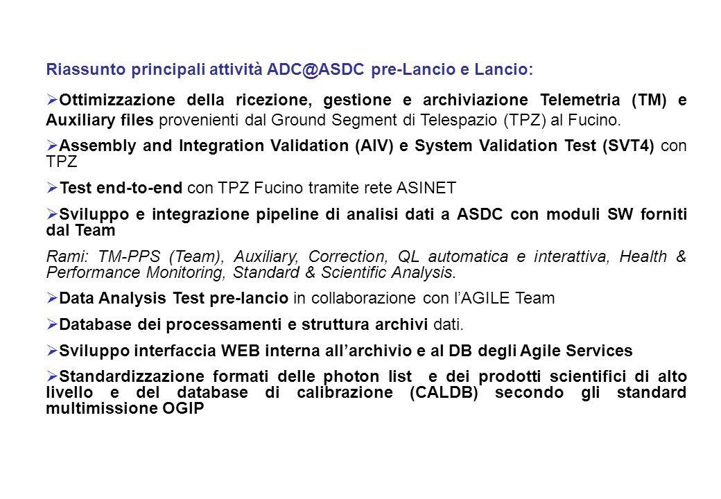 Riassunto principali attività ADC@ASDC pre-Lancio e Lancio: Ottimizzazione della ricezione, gestione e archiviazione Telemetria (TM) e Auxiliary files provenienti dal Ground Segment di Telespazio (TPZ) al Fucino.