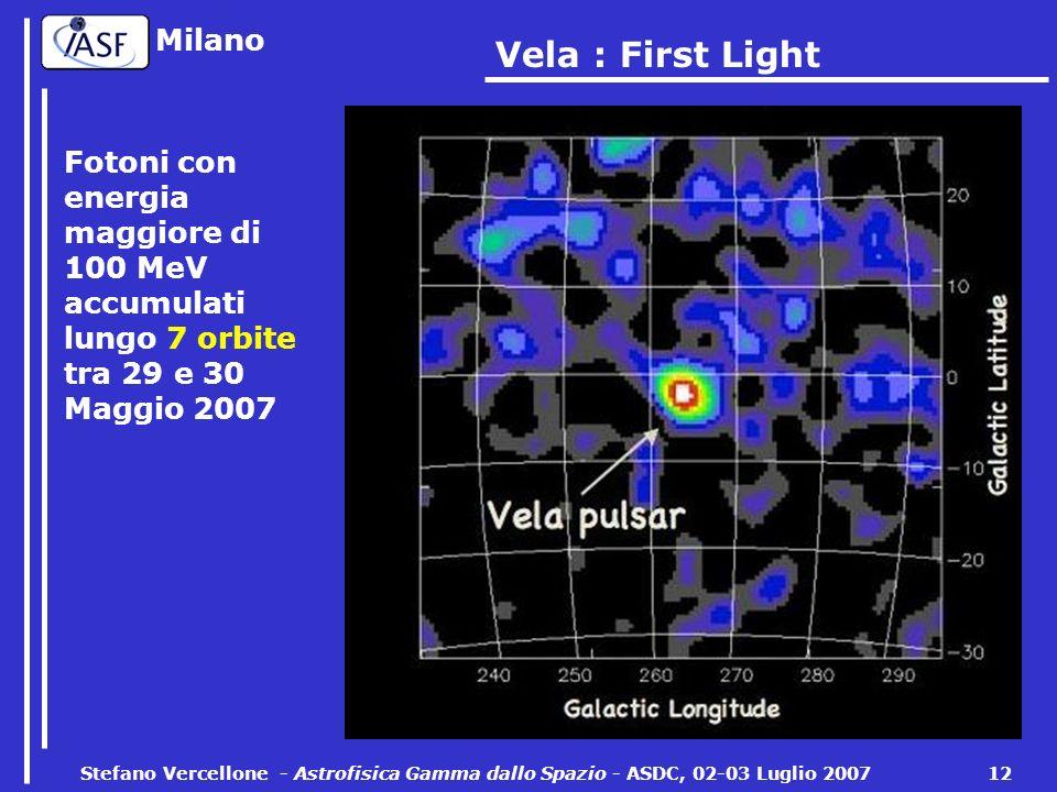 Milano Stefano Vercellone - Astrofisica Gamma dallo Spazio - ASDC, 02-03 Luglio 2007 12 Vela : First Light Fotoni con energia maggiore di 100 MeV accumulati lungo 7 orbite tra 29 e 30 Maggio 2007