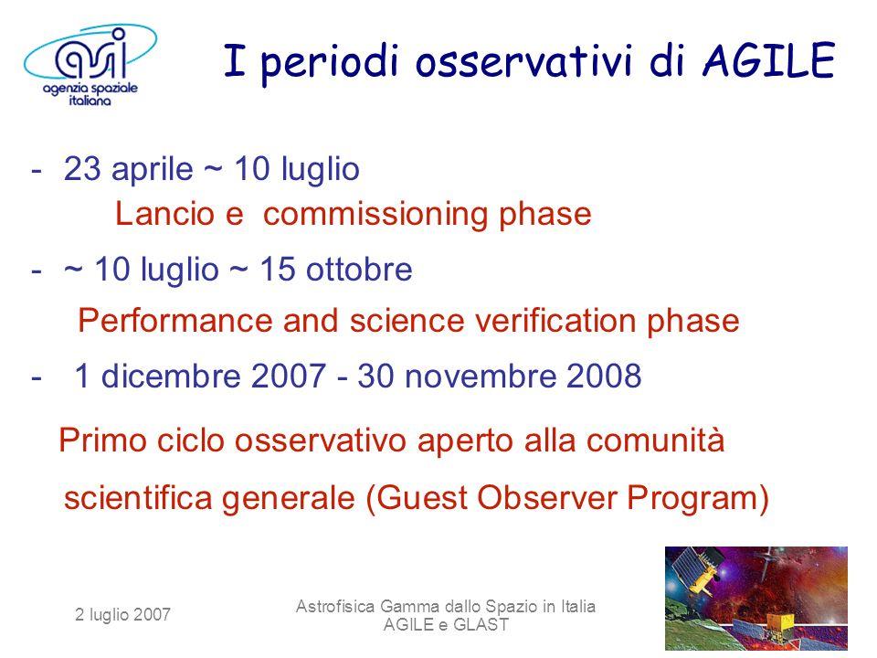 2 luglio 2007 Astrofisica Gamma dallo Spazio in Italia AGILE e GLAST I periodi osservativi di AGILE -23 aprile ~ 10 luglio Lancio e commissioning phas