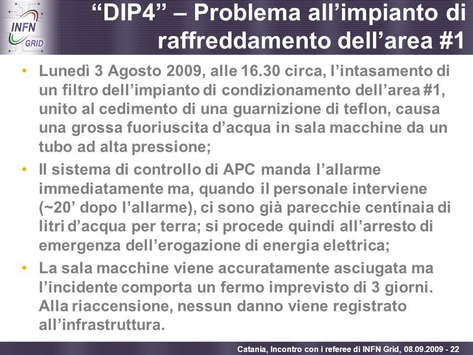 Enabling Grids for E-sciencE Catania, Incontro con i referee di INFN Grid, 08.09.2009 - 22 DIP4 – Problema allimpianto di raffreddamento dellarea #1 L