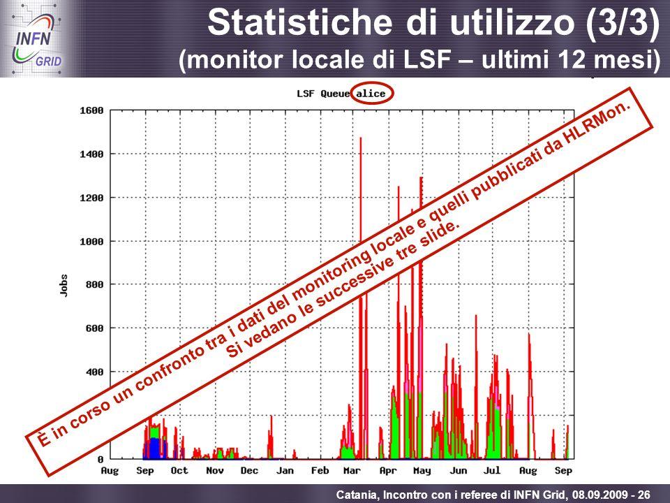 Enabling Grids for E-sciencE Catania, Incontro con i referee di INFN Grid, 08.09.2009 - 26 Statistiche di utilizzo (3/3) (monitor locale di LSF – ulti