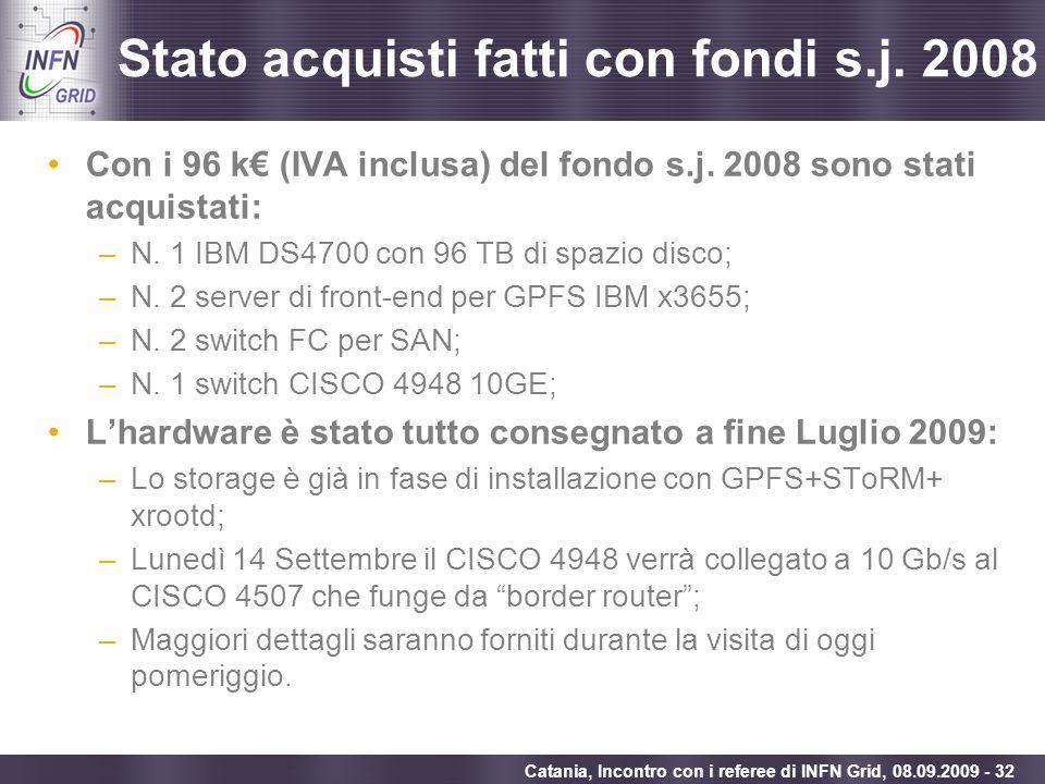Enabling Grids for E-sciencE Catania, Incontro con i referee di INFN Grid, 08.09.2009 - 32 Stato acquisti fatti con fondi s.j. 2008 Con i 96 k (IVA in