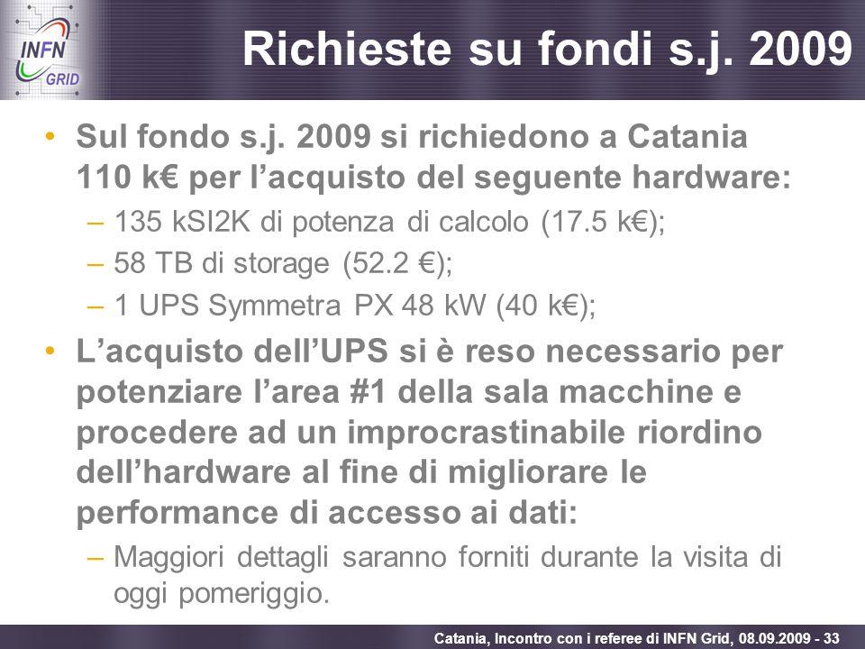 Enabling Grids for E-sciencE Catania, Incontro con i referee di INFN Grid, 08.09.2009 - 33 Richieste su fondi s.j. 2009 Sul fondo s.j. 2009 si richied