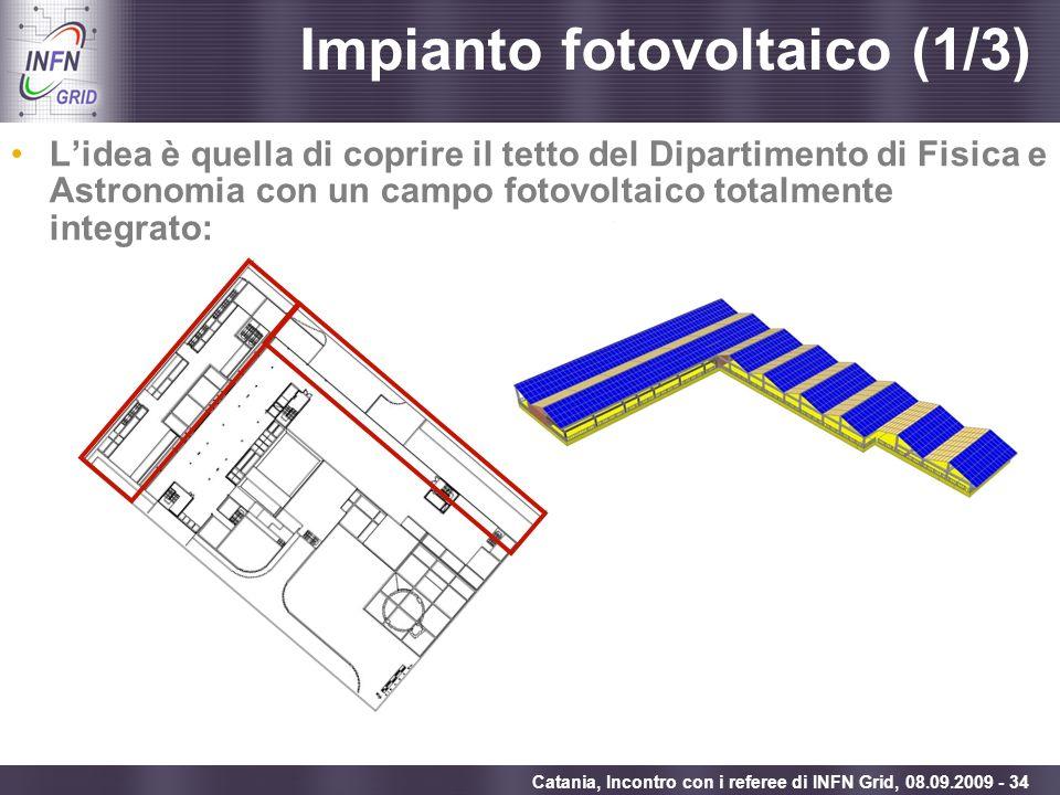 Enabling Grids for E-sciencE Catania, Incontro con i referee di INFN Grid, 08.09.2009 - 34 Impianto fotovoltaico (1/3) Lidea è quella di coprire il te