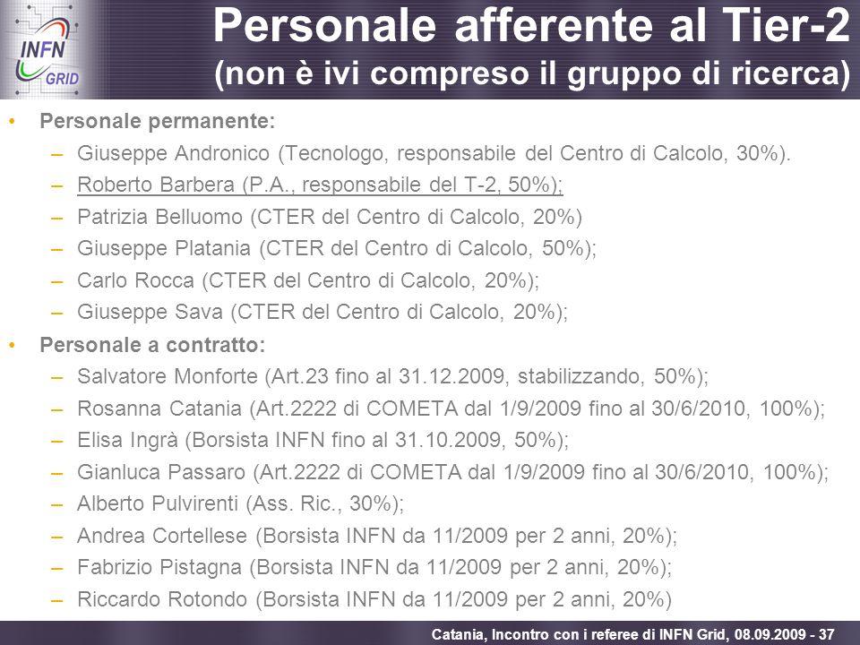 Enabling Grids for E-sciencE Catania, Incontro con i referee di INFN Grid, 08.09.2009 - 37 Personale afferente al Tier-2 (non è ivi compreso il gruppo