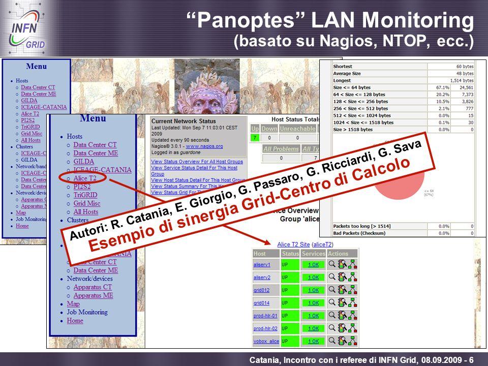 Enabling Grids for E-sciencE Catania, Incontro con i referee di INFN Grid, 08.09.2009 - 6 Panoptes LAN Monitoring (basato su Nagios, NTOP, ecc.) Autor