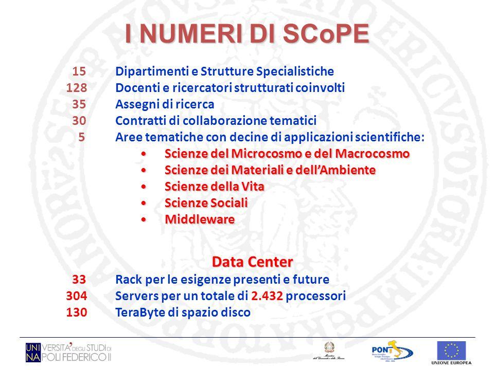 I NUMERI DI SCoPE 15 Dipartimenti e Strutture Specialistiche 128 Docenti e ricercatori strutturati coinvolti 35Assegni di ricerca 30 Contratti di coll
