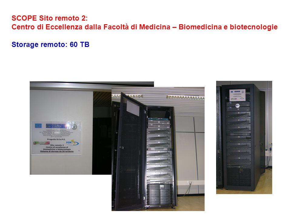 SCOPE Sito remoto 2: Centro di Eccellenza dalla Facoltà di Medicina – Biomedicina e biotecnologie Storage remoto: 60 TB