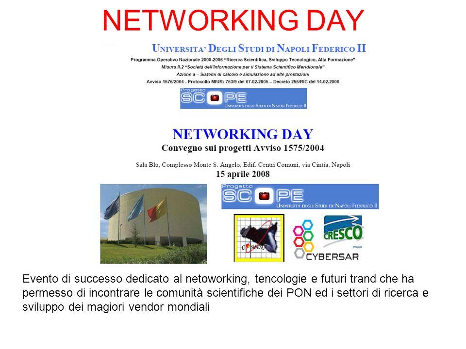 NETWORKING DAY Evento di successo dedicato al netoworking, tencologie e futuri trand che ha permesso di incontrare le comunità scientifiche dei PON ed i settori di ricerca e sviluppo dei magiori vendor mondiali
