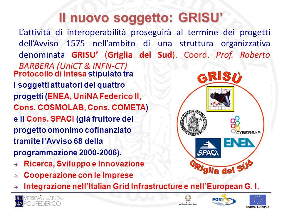 Il nuovo soggetto: GRISU Lattività di interoperabilità proseguirà al termine dei progetti dellAvviso 1575 nellambito di una struttura organizzativa denominata GRISU (Griglia del Sud).