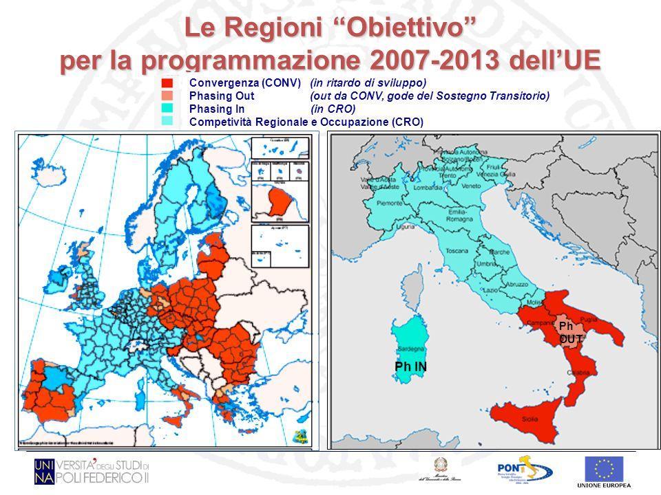 Le Regioni Obiettivo per la programmazione 2007-2013 dellUE Convergenza (CONV) (in ritardo di sviluppo) Phasing Out (out da CONV, gode del Sostegno Transitorio) Phasing In (in CRO) Competività Regionale e Occupazione (CRO) Ph IN Ph OUT