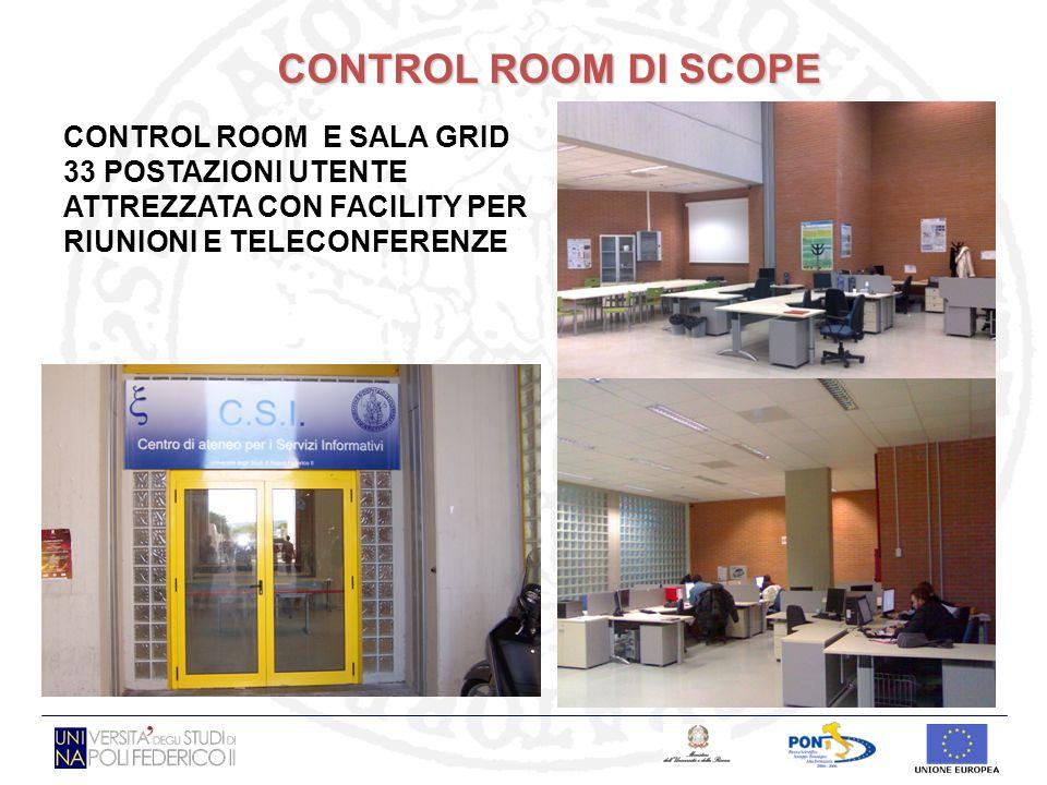 CONTROL ROOM DI SCOPE CONTROL ROOM E SALA GRID 33 POSTAZIONI UTENTE ATTREZZATA CON FACILITY PER RIUNIONI E TELECONFERENZE