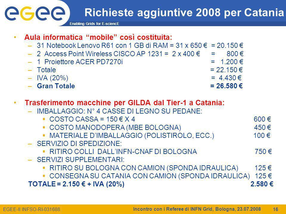 Enabling Grids for E-sciencE EGEE-II INFSO-RI-031688 Incontro con i Referee di INFN Grid, Bologna, 23.07.2008 16 Richieste aggiuntive 2008 per Catania Aula informatica mobile così costituita: –31 Notebook Lenovo R61 con 1 GB di RAM = 31 x 650 = 20.150 –2 Access Point Wireless CISCO AP 1231 = 2 x 400 = 800 –1 Proiettore ACER PD7270i = 1.200 –Totale = 22.150 –IVA (20%) = 4.430 –Gran Totale = 26.580 Trasferimento macchine per GILDA dal Tier-1 a Catania: –IMBALLAGGIO: N° 4 CASSE DI LEGNO SU PEDANE: COSTO CASSA = 150 X 4 600 COSTO MANODOPERA (MBE BOLOGNA) 450 MATERIALE DIMBALLAGGIO (POLISTIROLO, ECC.) 100 –SERVIZIO DI SPEDIZIONE: RITIRO COLLI DALLINFN-CNAF DI BOLOGNA 750 –SERVIZI SUPPLEMENTARI: RITIRO SU BOLOGNA CON CAMION (SPONDA IDRAULICA) 125 CONSEGNA SU CATANIA CON CAMION (SPONDA IDRAULICA) 125 TOTALE = 2.150 + IVA (20%) 2.580