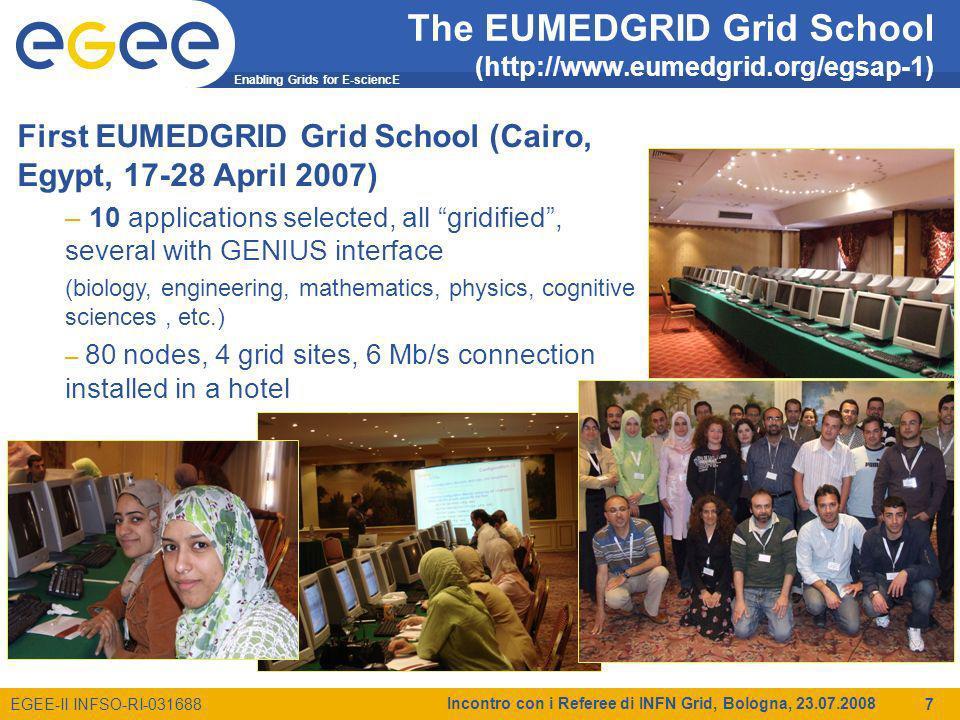 Enabling Grids for E-sciencE EGEE-II INFSO-RI-031688 Incontro con i Referee di INFN Grid, Bologna, 23.07.2008 18 Richieste 2009 per EGEE-III NA3 e NA4 (k) SedeM.I.M.E.Cons.Inv.Totale BA12 3 CNAF828 36 CT31126.52412 193.5 MI0.52 2.5 MIB0.52 2.5 PD3435 42 PG0.52 2.5 RM12.513 15.5 TO16 7 Totale48185.55912304.5