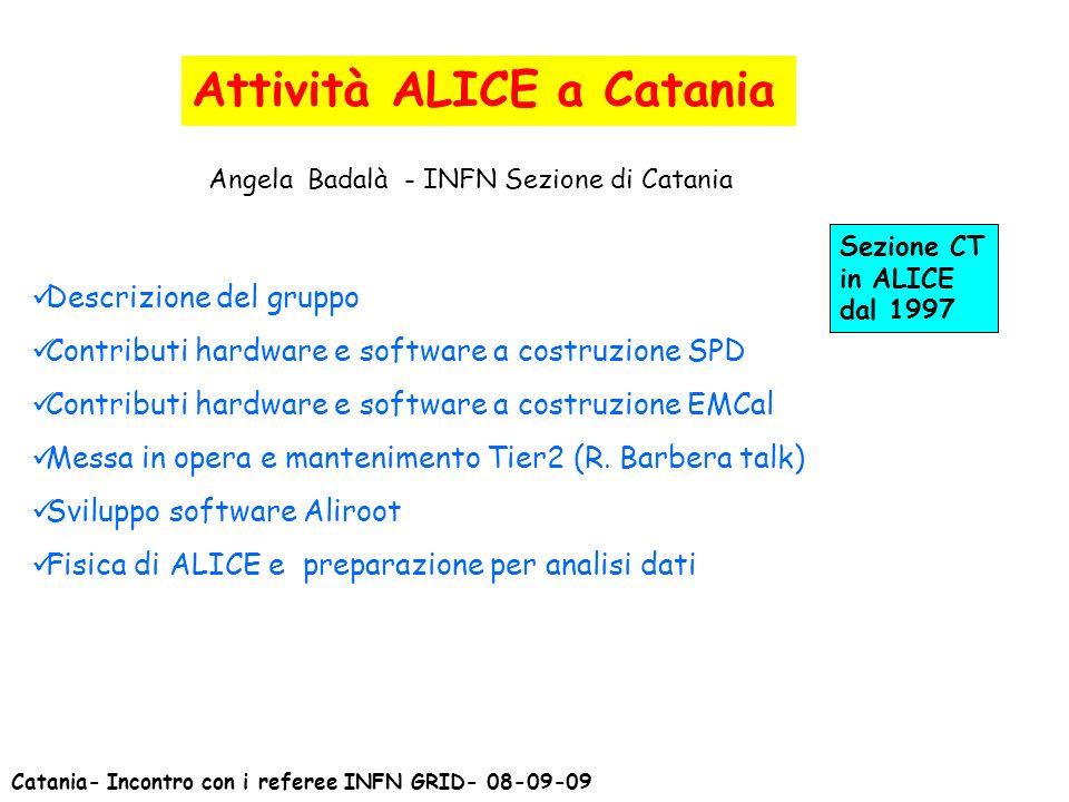 Attività ALICE a Catania Angela Badalà - INFN Sezione di Catania Descrizione del gruppo Contributi hardware e software a costruzione SPD Contributi ha