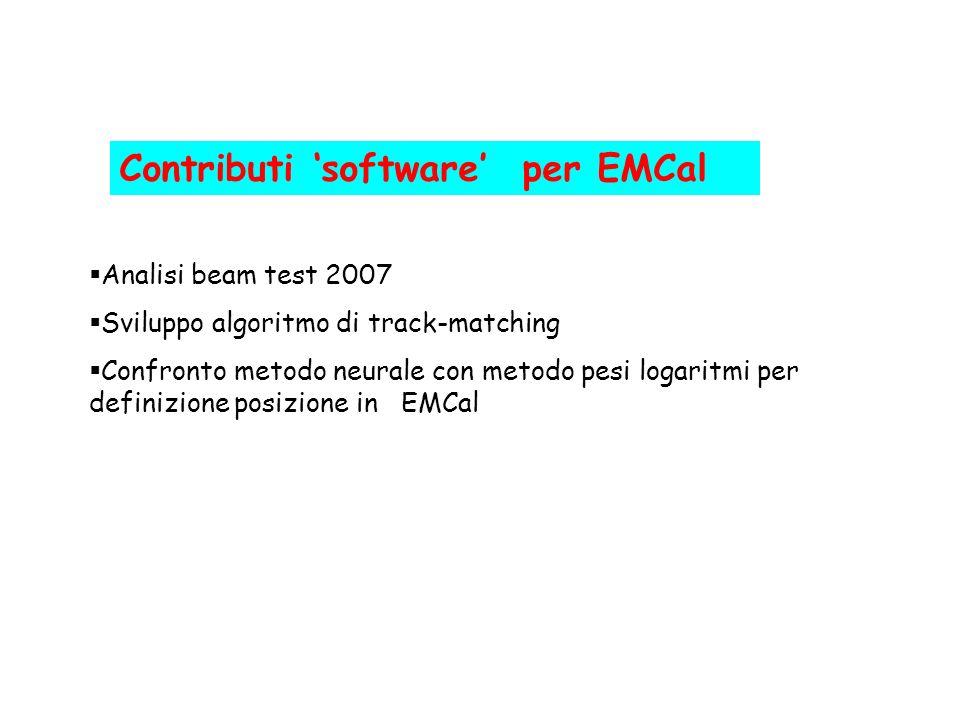 Contributi software per EMCal Analisi beam test 2007 Sviluppo algoritmo di track-matching Confronto metodo neurale con metodo pesi logaritmi per defin
