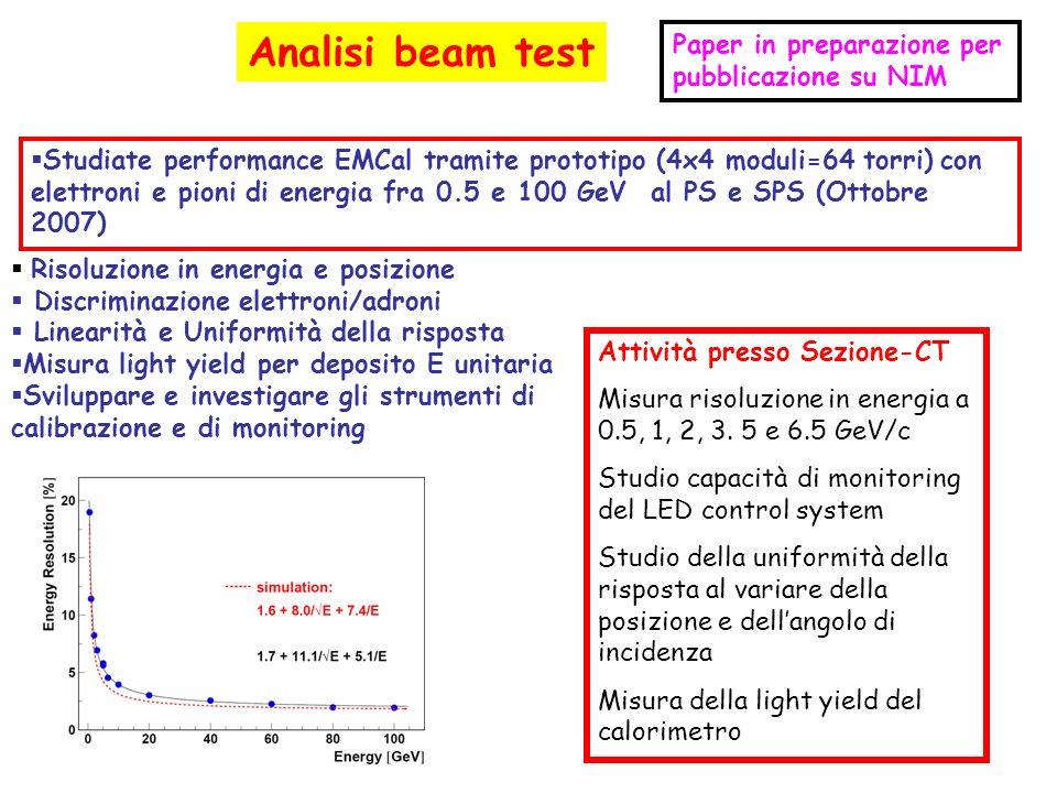 Analisi beam test Studiate performance EMCal tramite prototipo (4x4 moduli=64 torri) con elettroni e pioni di energia fra 0.5 e 100 GeV al PS e SPS (O
