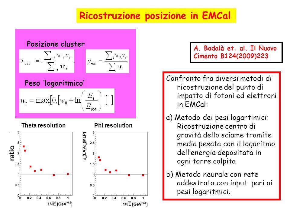 Confronto fra diversi metodi di ricostruzione del punto di impatto di fotoni ed elettroni in EMCal: a) Metodo dei pesi logartimici: Ricostruzione cent