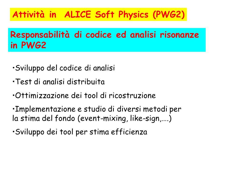 Attività in ALICE Soft Physics (PWG2) Sviluppo del codice di analisi Test di analisi distribuita Ottimizzazione dei tool di ricostruzione Implementazi