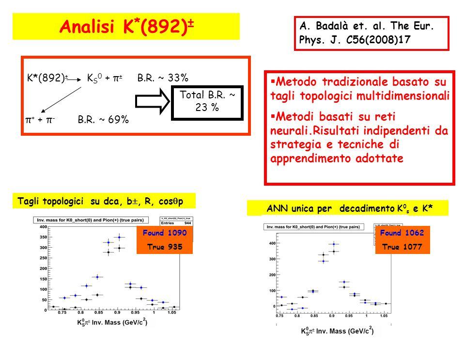 Analisi K * (892) ± K*(892) ± K S 0 + π ± B.R. ~ 33% π + + π - B.R. ~ 69% Total B.R. ~ 23 % Metodo tradizionale basato su tagli topologici multidimens