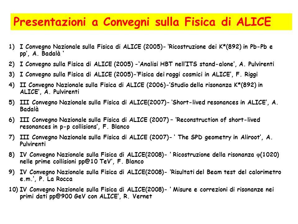 Presentazioni a Convegni sulla Fisica di ALICE 1)I Convegno Nazionale sulla Fisica di ALICE (2005)- Ricostruzione dei K*(892) in Pb-Pb e pp, A. Badalà