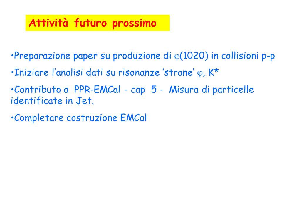 Preparazione paper su produzione di (1020) in collisioni p-p Iniziare lanalisi dati su risonanze strane, K* Contributo a PPR-EMCal - cap 5 - Misura di