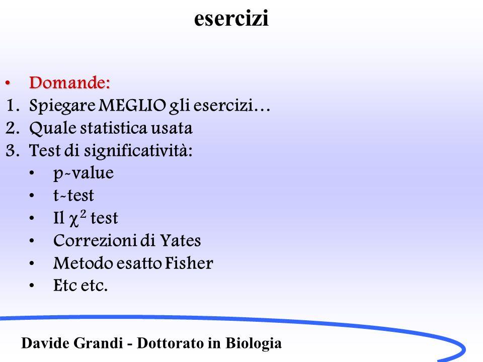 Davide Grandi - Dottorato in Biologia Domande:Domande: 1.Spiegare MEGLIO gli esercizi… 2.Quale statistica usata 3.Test di significatività: p-value t-test Il 2 test Correzioni di Yates Metodo esatto Fisher Etc etc.